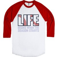 Baseball.-Unisex White/Red T-Shirt