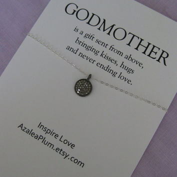 GODMOTHER Necklace // Godmother Jewelry // Godmother Gift // Godmother Necklace // Gift for Godmother // Godchildren // Diamond Necklace