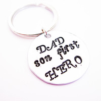 SALE Dad A Boys First Hero, Keychain For Him, Daddy Gift, Personalized Keychain, Birthday Gift, Fathers Day from Son, dad keyring key chain