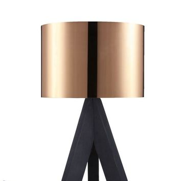 """Euro Style Collection Askos 12"""" Mini Table Lamp-Copper (Wood Legs)"""