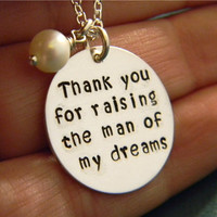 "Thank You Solid Sterling Silver, Custom Made, Hand Stamped Personalized Mother-in-law Necklace with Freshwater Pearl Charm on 7/8"" Disc"