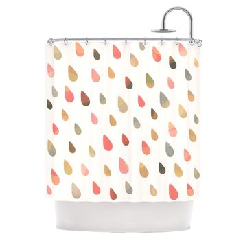 "Daisy Beatrice ""Opal Drops - Dusk"" Peach White Shower Curtain - Outlet Item"