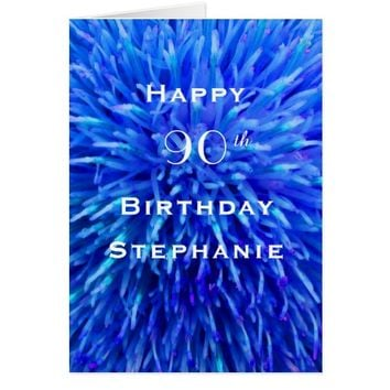 Happy Birthday, Personalized, Multi Blue Abstract Card