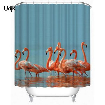 Urijk 1PC Hottest Flamingo Pattern Decor Shower Curtain Waterproof 3D Bathroom Product Polyester Fabric Bathroom Curtains Home