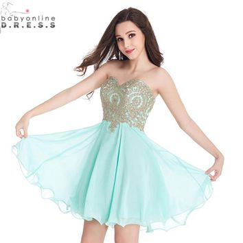 Robe demoiselle D'honneur Sexy Backless Mint Green Appliques Lace Short Bridesmaid Dresses 2017 Vestido de Festa de Casamento
