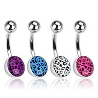 "Stainless Steel Navel Belly Button Ring with Leopard Skin Clear Epoxy Ball - 14 GA 3/8"" Long (Sold Ind.)"