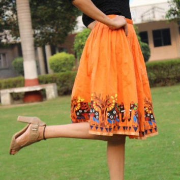 knee length womens skirt- hand painted silk skirt- made to order-orange pleated skirt-festival skirt-prom skirt-gift for women-ladies skirt
