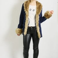 Vintage 90's Dark Blue Denim Festival Jacket with Faux Fur - size Small