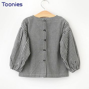 Plaid Girls Shirts for Children Blouse Clothing Spring Autumn Long Sleeve Child Shirt Tops Casual Cotton Back Button Kids Blouse