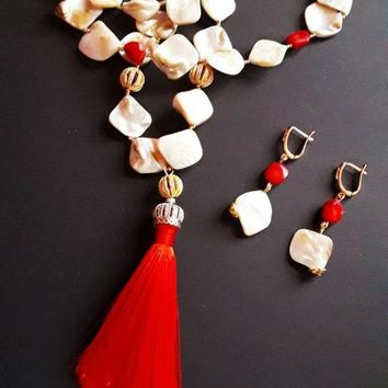 Natural shell beads and bamboo coral tassel necklace and earring 0d28eccfcf