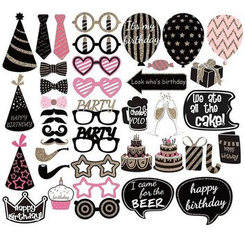 DIY Happy Birthday Girl Photo Booth Props Deluxe Set