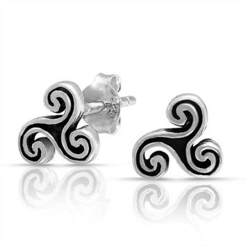 Celtic Trinity Triskele Symbol Spiral Stud Earrings Sterling Silver