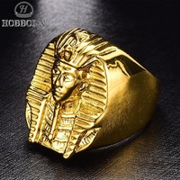 New Ancient Egypt Pharaoh Rings Men Gold color Stainless Steel Son of the Sun God King Mens Ring High Polished Religious Jewelry