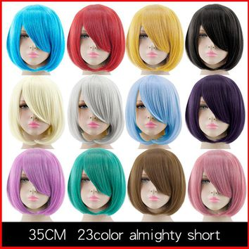 Cool HSIU 35cm short Wig Black white purple blue red yellow high temperature fiber Synthetic Wigs Costume Party Cosplay Wig  23 colorAT_93_12