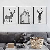 Modern Nordic Black White Animal Silhouette Deer  Art Print Poster Wall Picture Canvas Painting Living Room Home Decor No Frame