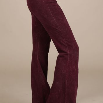 Chatoyant Mineral Wash Flare Pants in Burgundy