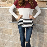 Wine, Lace Spine, & Stripes Tunic