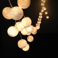 White cotton ball string lights for Patio,Wedding,Party and Decoration (20 bulbs)