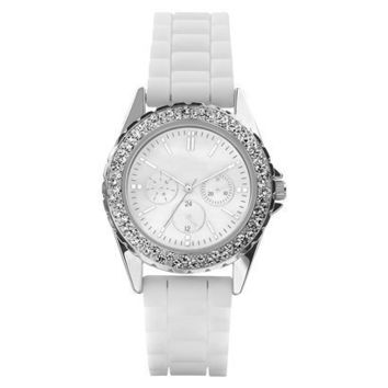 Women's White Polyurethane Strap Silver Round Case Mother of Pearl Rhinestone Faux Three-Eye Dial Watch