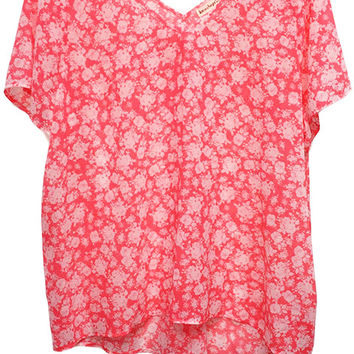Plus Size Neon Floral Printed Woven Top