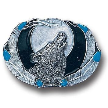 Sports Accessories - Wolf Framed by Feathers Enameled Belt Buckle