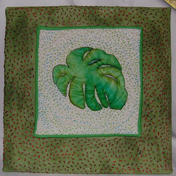 Tropical Leaf Wall Hanging; Hand Painted and Hand Quilted