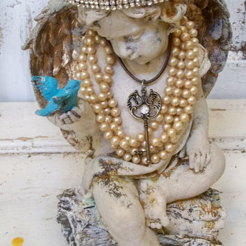 Angel statue ornate with crown cherub sculpture with wings embellished jewelry French chic Santos home decor Anita Spero