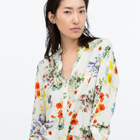 Mandarin collar printed top with uneven hem