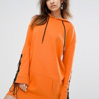 Daisy Street Oversized Hoodie Dress With Lace Up Sleeves at asos.com