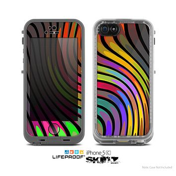 The Swirly Color Change Lines Skin for the Apple iPhone 5c LifeProof Case