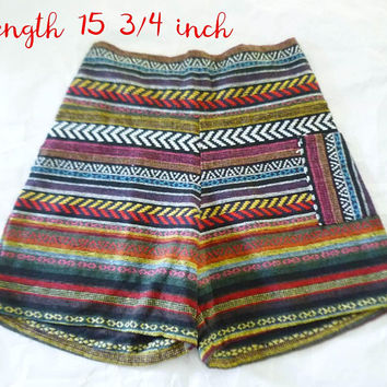 Embroidery shorts One pocket strech waist 30-38 inches tribal pants tribal shorts ethnic shorts
