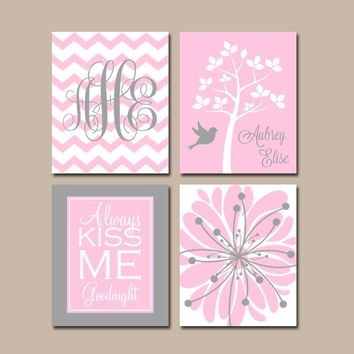 PINK GRAY Nursery Art, CANVAS or Prints, Baby Girl Nursery Decor, Flower Nursery Art, Always Kiss Me Goodnight, Girl Tree Nursery, Set of 4