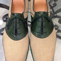 Handmade Special Design Luxury Green Linen Mens Shoes