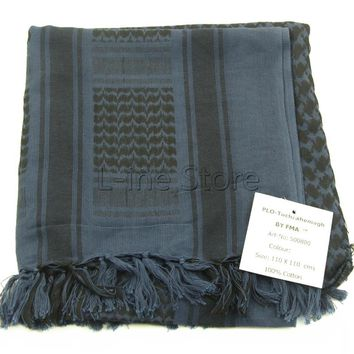 Men Women Military Tactical Keffiyeh Shemagh Arab Scarf Shawl Neck Cover Head Wrap Blue 100% Cotton Winter Scarves