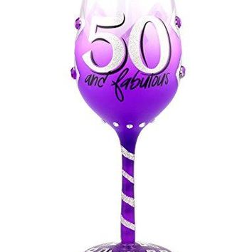 Top Shelf 50th Birthday Wine Glass  Unique amp Thoughtful Gift Ideas for Friends and Family  Hand Painted Red or White Wine Glass for Mom Grandma and Sister