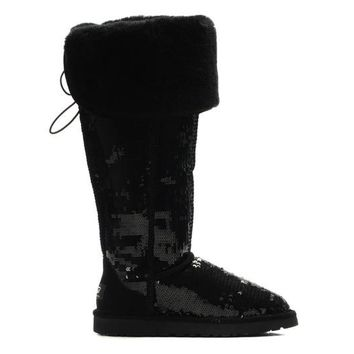 LFMON UGG 3173 Tall Overknee Sparkles Women Men Fashion Casual Wool Winter Snow Boots Black