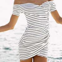 White and Black Slash Collar Short Sleeve Striped Dress