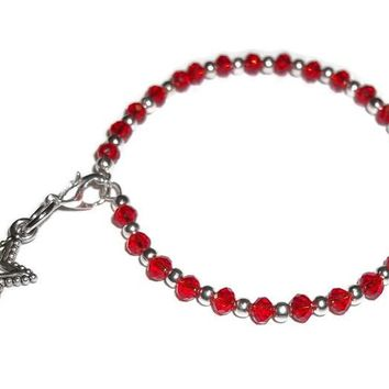 "Star Red Swarovski Crystal Artisan Crafted Silver Stackables Bangle Bracelet (XS-S 5.5"" - 6.5"")"