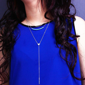 New Arrival Jewelry Gift Shiny Stylish Turquoise Metal Tassels Necklace [7316488199]