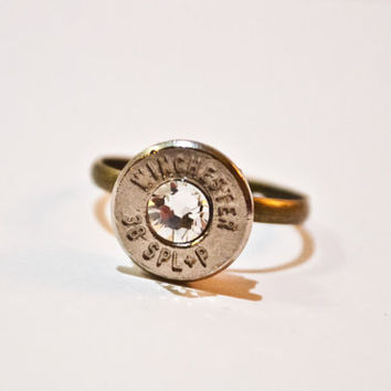 Bullet Ring -Gunpowder and Glitz- Simplistic Nickel on Brass Bullet Ring