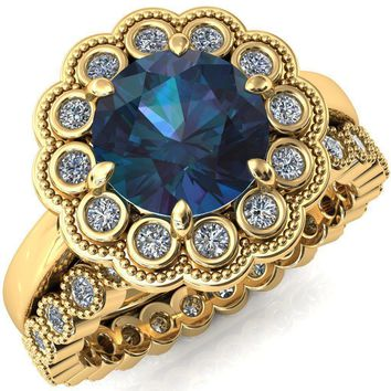 Zinnia Round Alexandrite 8 Prongs Milgrain Halo Accent Diamonds Ring