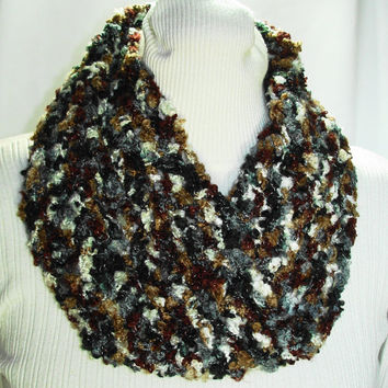Crochet Cowl Black Brown Gray Cream Color Cowl Crochet Mobius Cowl Shell Stitch Infinity Cowl Acrylic Boucle Yarn Cowl