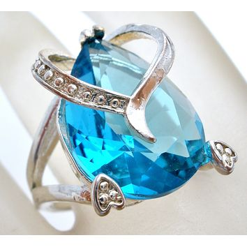 Blue Topaz CZ Heart Ring Sterling Silver