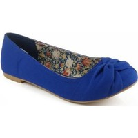 Qupid Palmer-60 Knotted Round Toe Ballet Flats COBALT BLUE