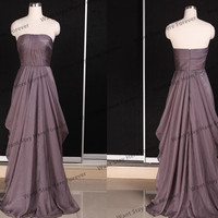 Elegant Dark Color BrownStrapless Cascade Layers Floor Length Long Prom Dress,mother of the bridal dress,long party dress,long evening dress