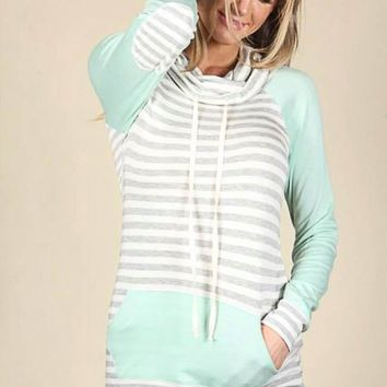 Terry Stripe Turtleneck - Mint and Grey