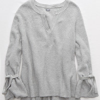 Aerie Tie Sleeve Sweater, Medium Heather