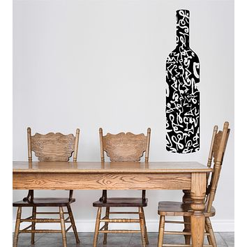 Wall Vinyl Decal Wine Bottle Painted Ornament Alcohol Bar Restaurant Decor Unique Gift z4769