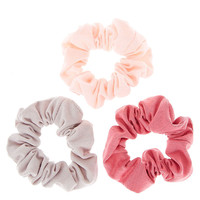 Pink and Gray Classic Hair Scrunchies