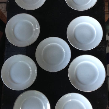 9 MEITO Hand Painted Made in Japan Small White Porcelain Plates Great for Afternoon Tea Nibbles Hors d'ouevre Appetizer Apps